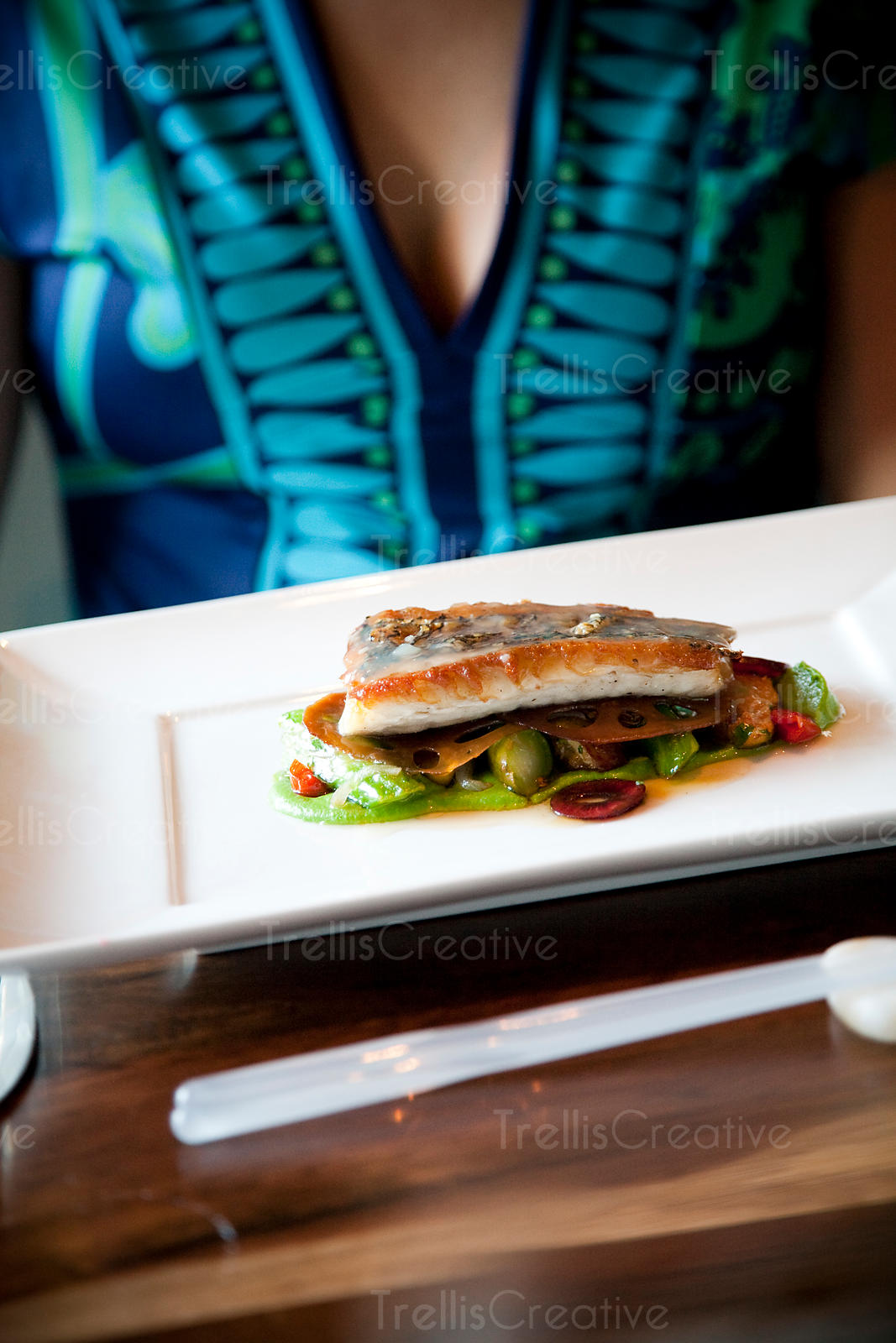 Black sea bass with pea and wasabi puree