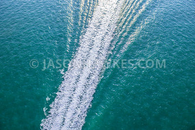 Aerial view of the wake left behind a boat