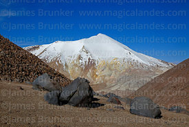 West face of Acotango volcano and volcanic boulders, Lauca National Park, Region XV, Chile