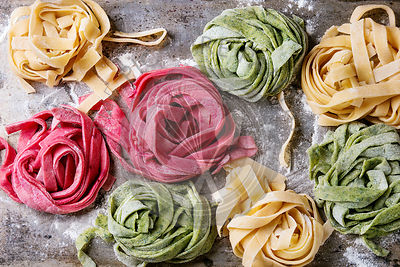 Colored fresh homemade pasta tagliatelle