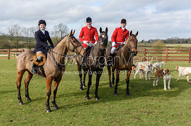 Suzie Penrose, Andrew Osborne, Matthew Penrose at the meet. The Cottesmore Hunt at Newbold Farm 16/2