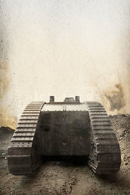 An atmospheric image of a British mark II tank on the battlefield in WW1.