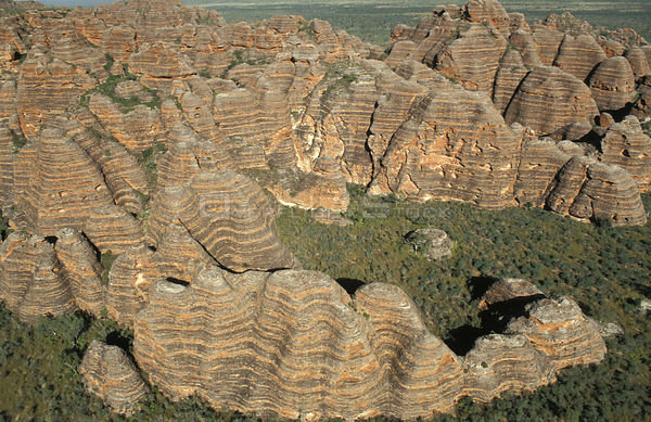 Aerial view of the Bungle Bungle sandstone domes,  Purnululu National Park, Western Australia