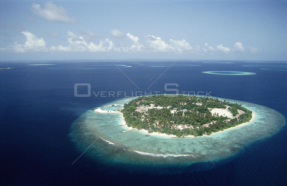 Island aerial view, the Maldives
