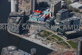 Manchester  aerial photograph of the BBC Studios Media City Metro Station Salford Quays