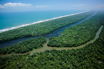 Aerial view of 'canal' and Caribbean coastline, Tortuguero NP, Costa Rica, Central America 2006
