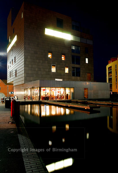 Walsall Art Gallery at night.