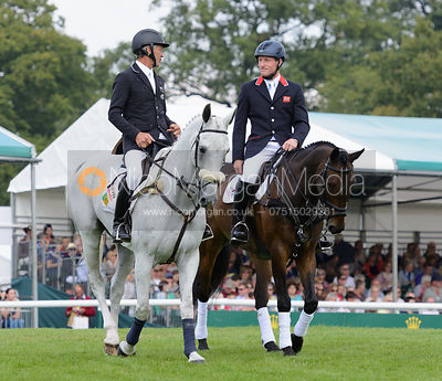 Andrew Nicholson and AVEBURY, Oliver Townend and ARMADA - show jumping phase, Burghley Horse Trials 2014.