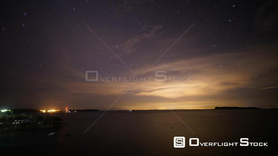 TimeLapse of Night Star Streaks Contadora Island Panama