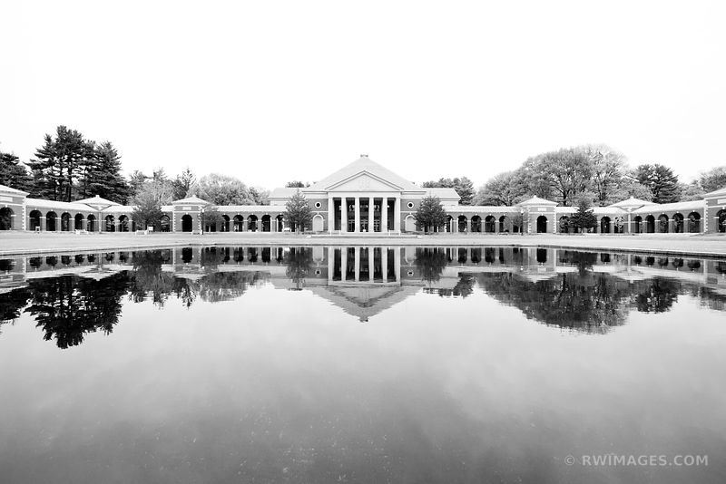 REFLECTING POOL HALL OF SPRINGS SARATOGA SPRINGS SPA STATE PARK NEW YORK BLACK AND WHITE