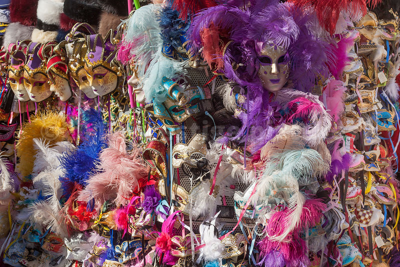 Colourful display of Venice Carnival Masks