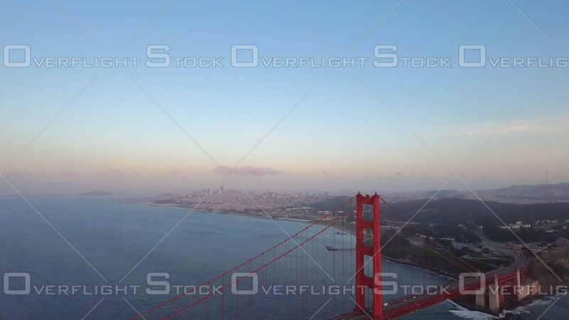 San Francisco Golden Gate Bridge Aerial Morning Flying Away from City Over South Tower. California