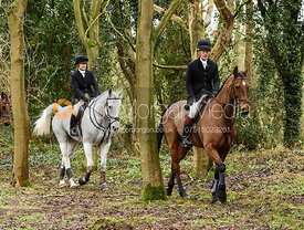 James Henderson, Georgie Mason leaving the meet at Eaton Grange. The Belvoir Hunt at Eaton Grange 7/2