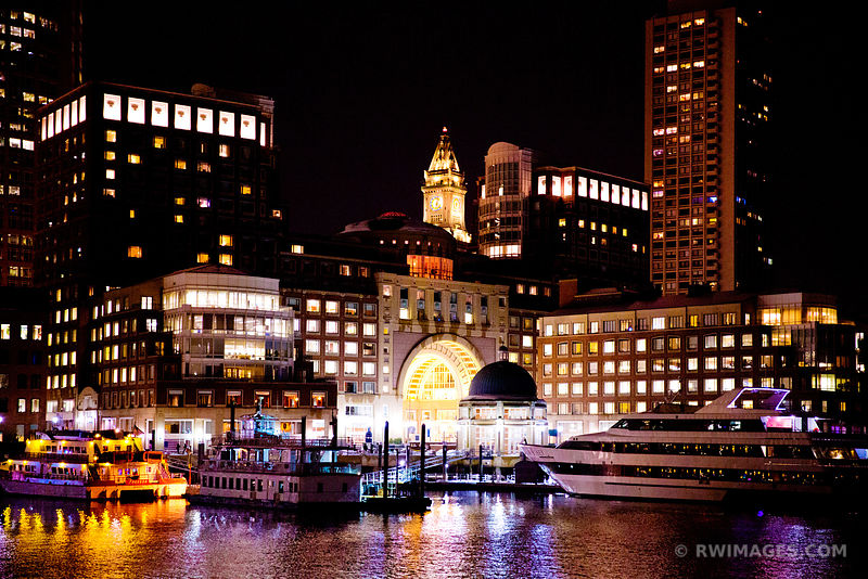 ROWES WHARF BOSTON WATERFRONT SKYLINE NIGHT COLOR