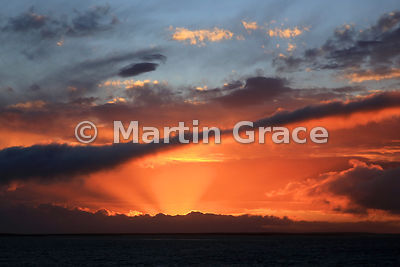 Sunset looking south-west from Pebble Island Settlement, West Falkland
