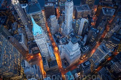 Aerial USA New York New York City Wall Street