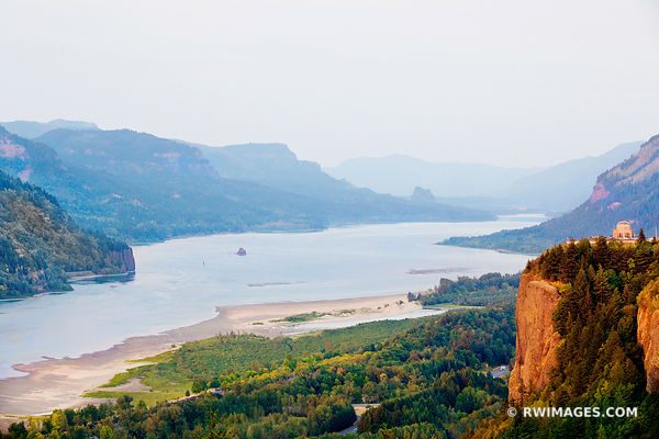 VISTA HOUSE CROWN POINT AT SUNSET FROM CHANTICLEER POINT COLUMBIA RIVER GORGE OREGON COLOR