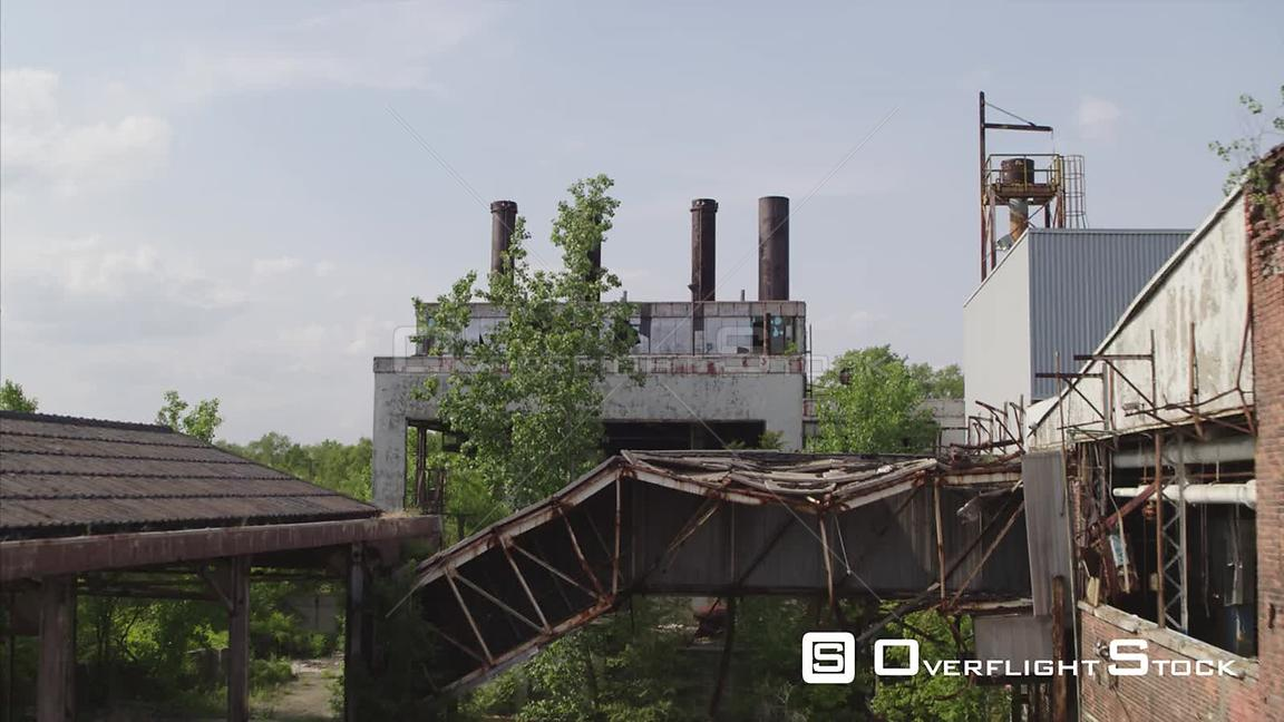 Drone Video Abandoned Manufacturing Plant Detroit Michigan
