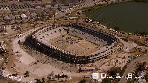 Aerial of Nelson Mandela Bay Stadium while under construction. Eastern Cape South Africa