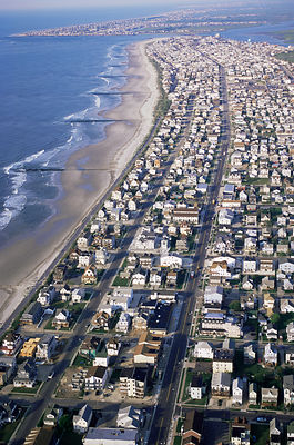 Aerial view of urban expansion - extensive development of coastal wetlands, Sea Isle City, Barrier Island, New Jersey, USA