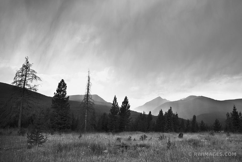 RAINT AFTERNOON KAWUNEECHE VALLEY ROCKY MOUNTAIN NATIONAL PARK COLORADO BLACK AND WHITE