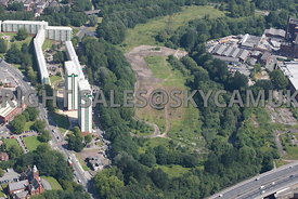 Stockport aerial photograph of the river Tame and wasteland north of the M60 motorway Portwood