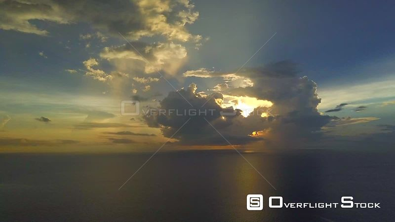 High Altitude Dusk Ocean Drone Video Scenics Panama Islands