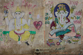 Graffiti of Lord Ganesha on street wall, Jaisalmer, India