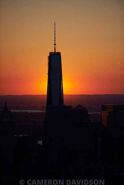 Aerial photograph at sunset of the Freedom tower in lower Manhattan