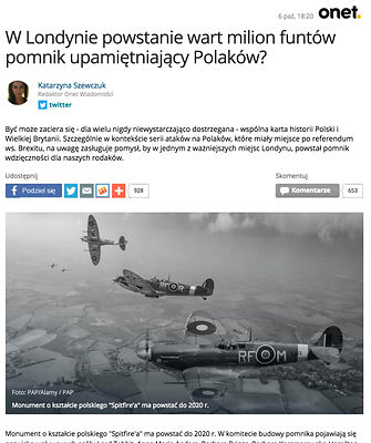 Polish news article about London memorial plan