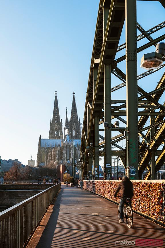 Bicycle passing on Hohenzollern Bridge, Cologne, Germany
