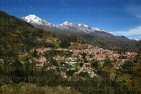 View of town of Sorata, Mts Illampu (L) and Ancohuma (R) behind, Bolivia