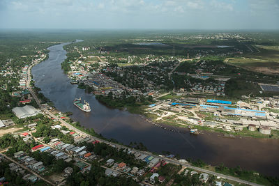 Aerial view of Linden town, Guyana, South America