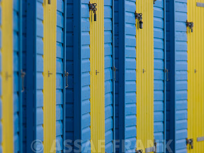 beach huts doors close-up, Littlehampton England