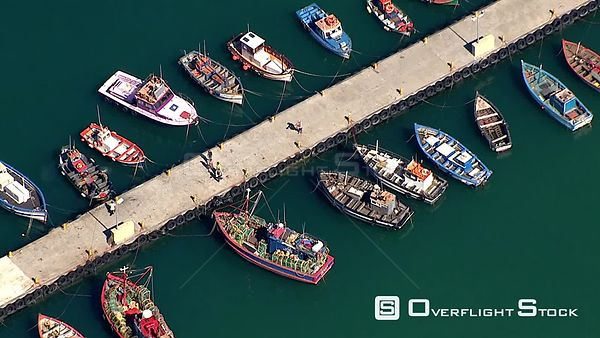 Aerial shot of boats lined up at Kalk Bay Harbour. Cape Town Western Cape South Africa