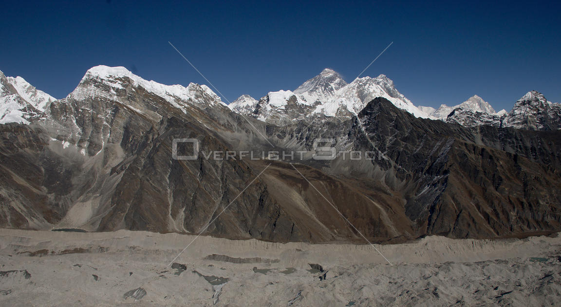 NEPAL Ngozumpa Glacier -- Oct 2007 -- Mount Everest, the tallest peak in the world caps this view of the Ngozumpa Glacier in ...