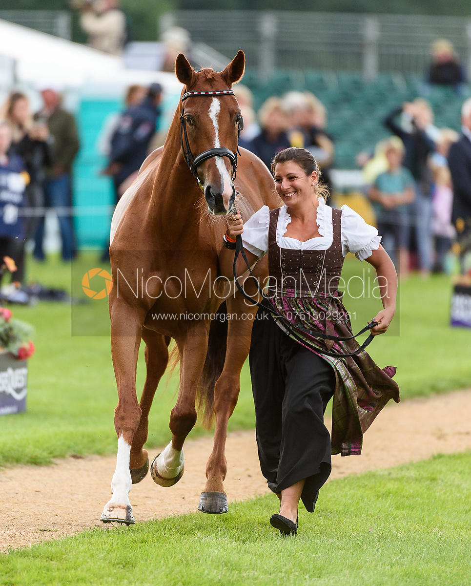 Katrin Khoddam Hazrati and COSMA at the trot up, Land Rover Burghley Horse Trials 2018