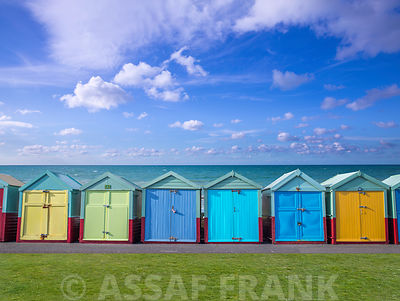 Colorful beach huts in a row