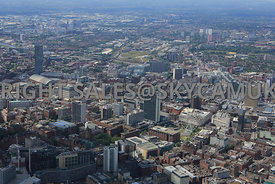 Manchester view across the City with Piccadilly Gardens in the foreground looking towards Middlewood Lock development area Sa...
