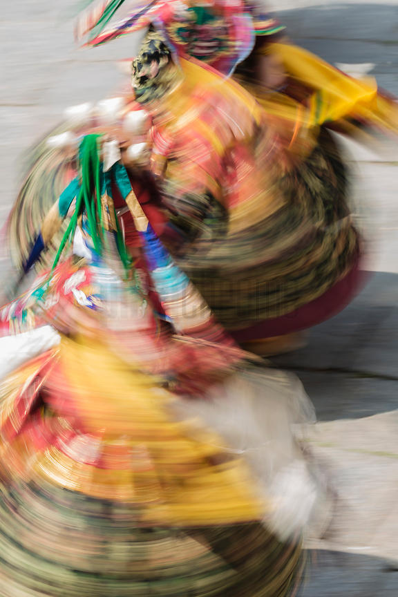 Motion Blur of Performers at the Trongsa Dromche