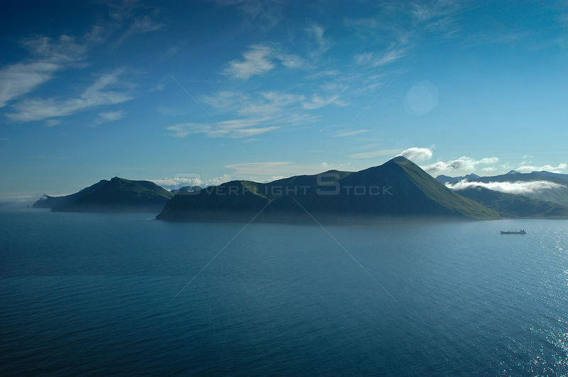 Aerial view of Aleutian Islands coastline, Dutch Harbour, Unalaska, USA, August 2005