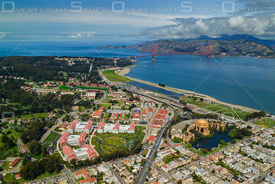 The Presidio of San Francisco with the Palace of Fine Arts, the Golden Gate Bridge and Marin Headlands California
