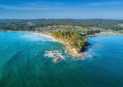Scenic aerial Views of part of Batemans Bay, located on the south coast of NSW Australia