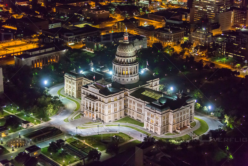Aerial State Capital Building Austin Texas USA