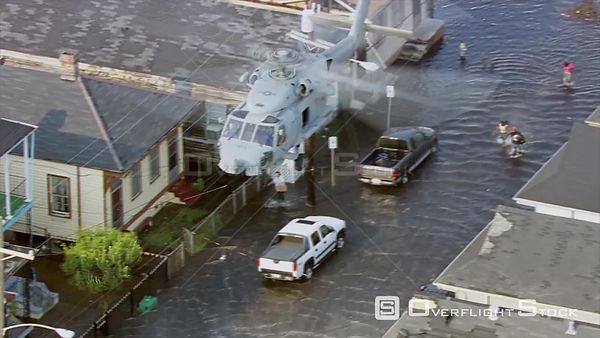 US Navy Helicopter In Rescue Operations New Orleans Hurricane Katrina. FOR EDITORIAL USE ONLY.