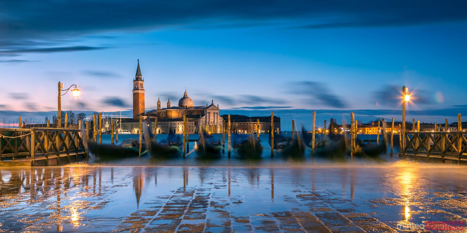 Panoramic waterfront at high tide, Venice, Italy
