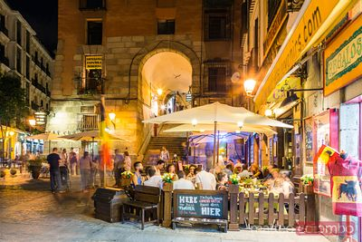 Tourists dining outdoor at tapas bar, Madrid, Spain