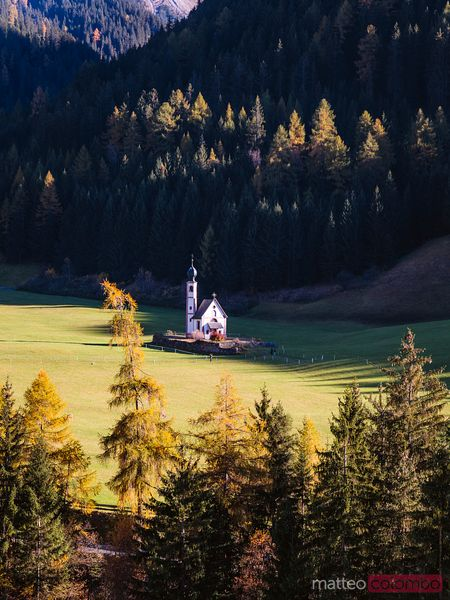 St Johannes church in autumn, Funes, Dolomites, Italy
