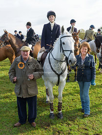 The Duke of Rutland, Lady Alice Manners and The Duchess of Rutland at the meet at Long Clawson