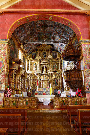 Main altar of Church of the Immaculate Conception, Checacupe, Cusco Region, Peru